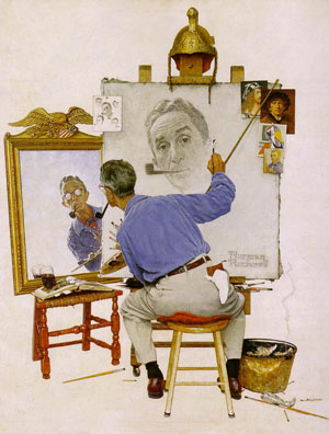 Norman Rockwell's Triple Self-Portrait